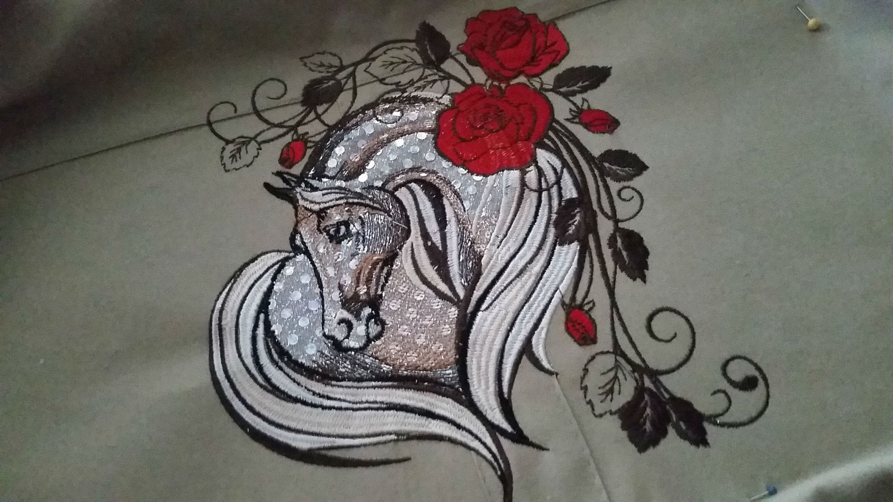 Horse with rose embroidered