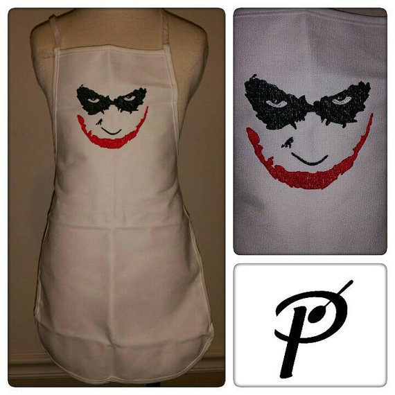 Joker's smile design on apron embroidered