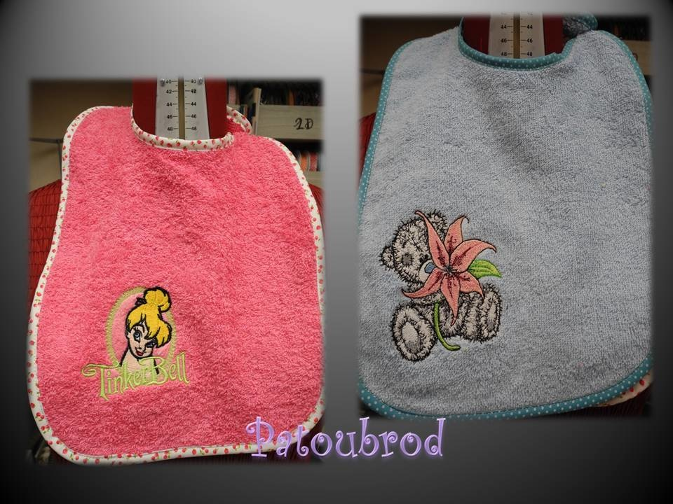 Fairy and teddy bear embroidered on bibs