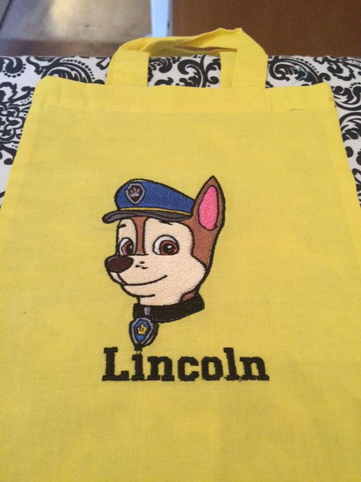 Shopping bag with with Dog embroidery design