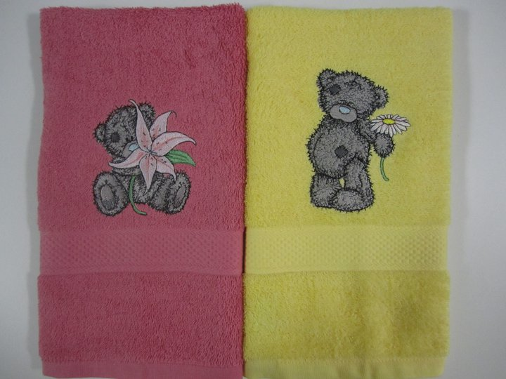 Teddy bear designs on embroidered towels