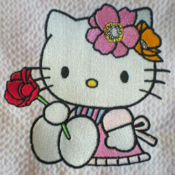Embroidered Hello kitty with rose