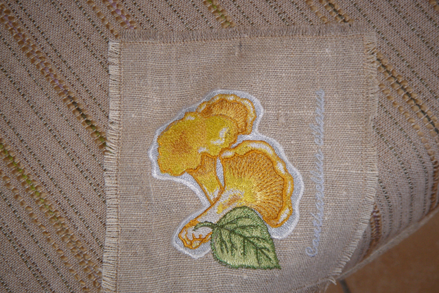 Cantharellus cibarius design on table cloth embroidered