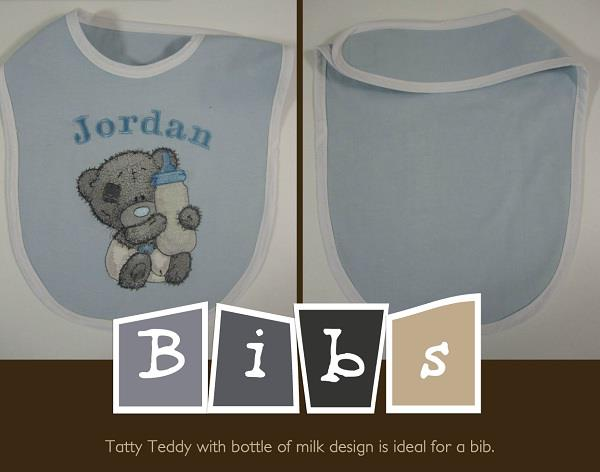 Blue nose bear on embroidered baby bib