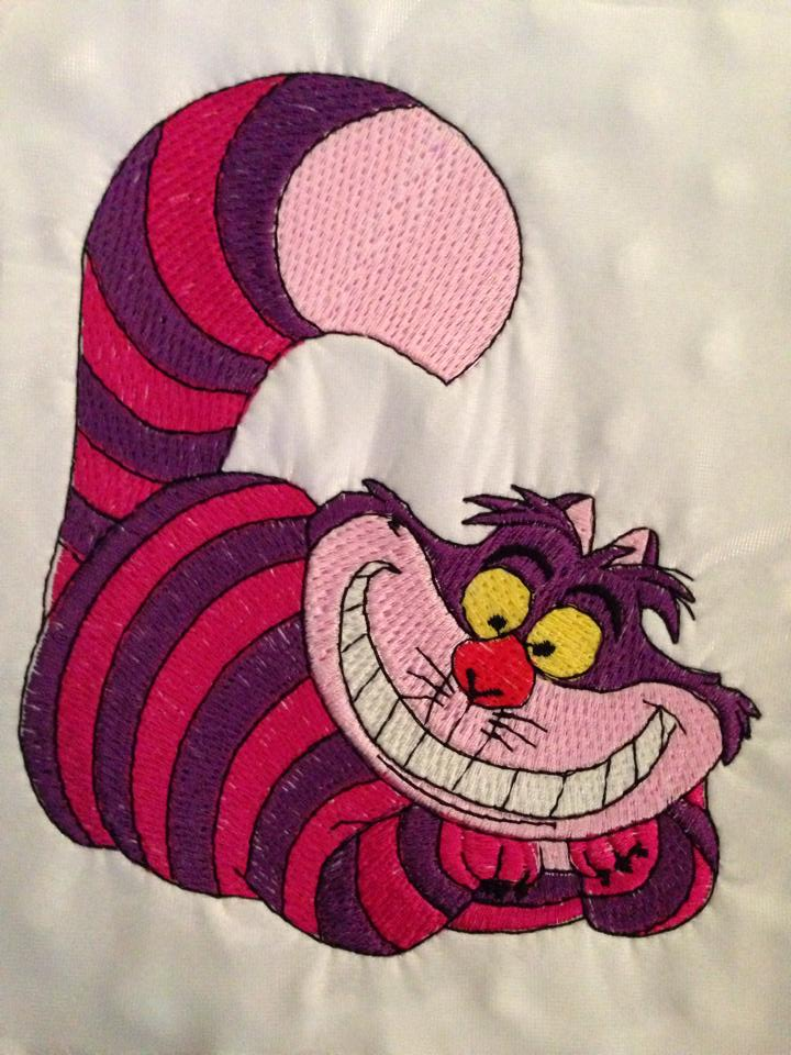 Cheshire Cat from Alice in Wonderland design embroidered