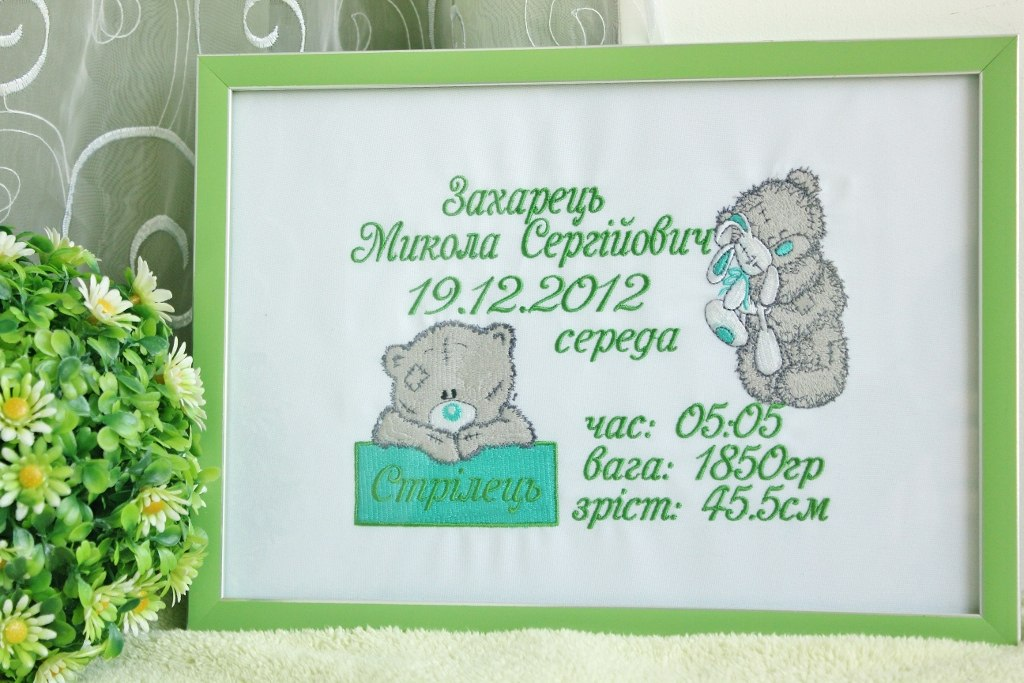Frame with embroidered blue nose teddy bears