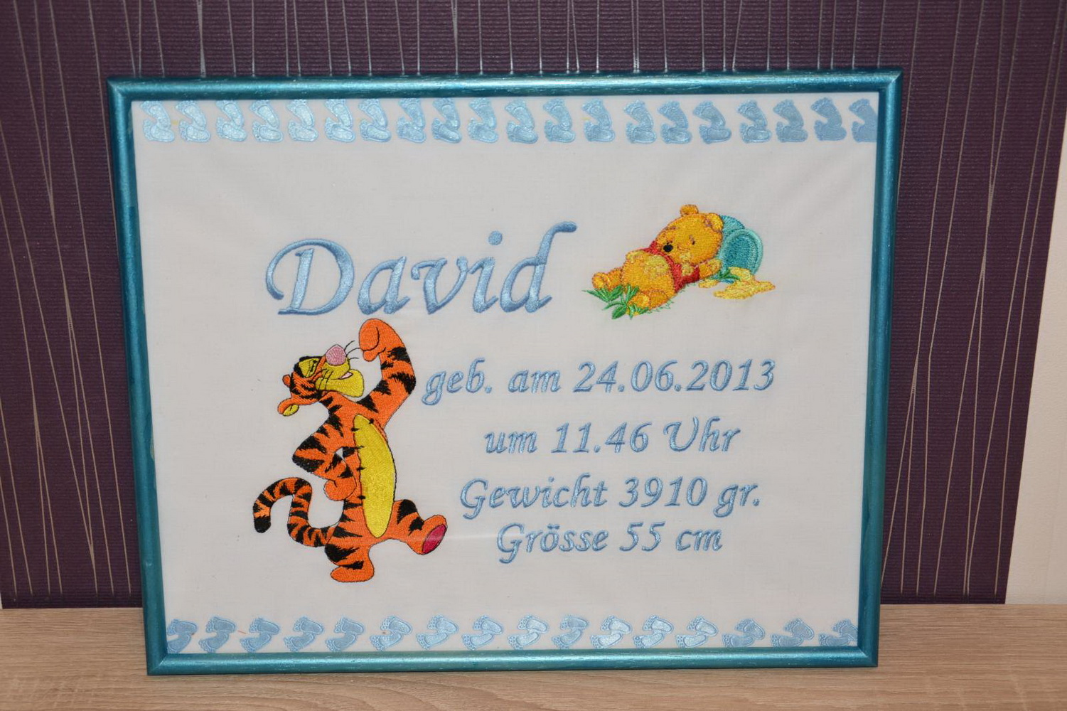 Embroidered Winnie Pooh and brave Tigger on birthday frame