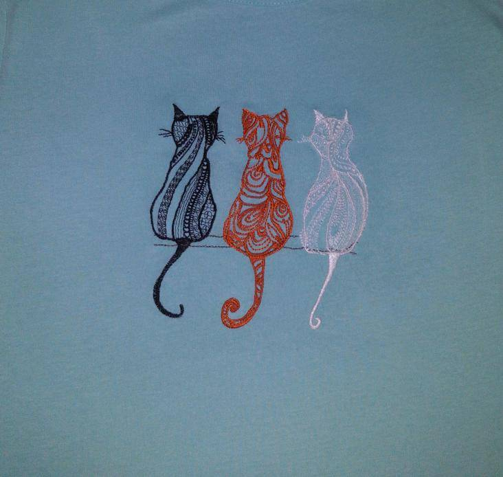 Three cats design embroidered