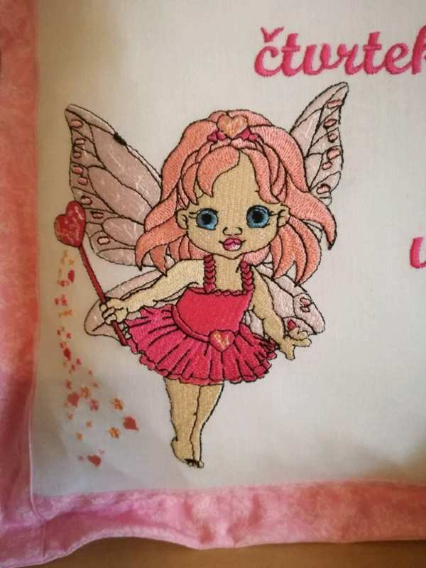 Cushion with baby fairy embroidery