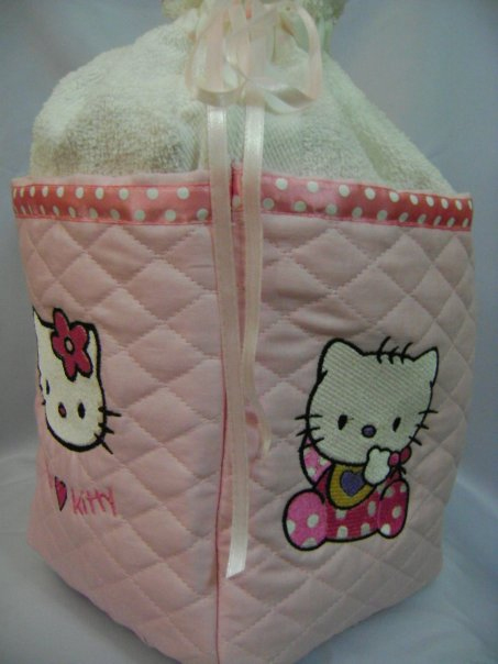 Hello Kitty baby bib design on textile bag embroidered