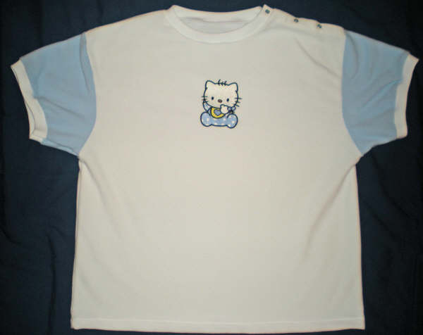 Embroidered Hello kitty  design on t-shirt