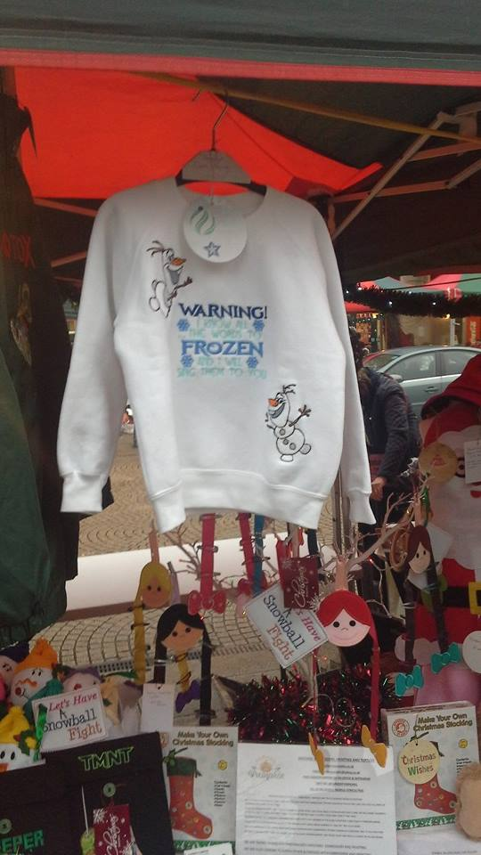 Olaf designs embroidered on hoodie