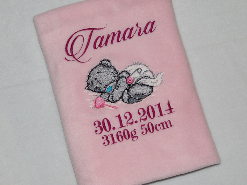 Embroidered towel for bath with Teddy Bear design