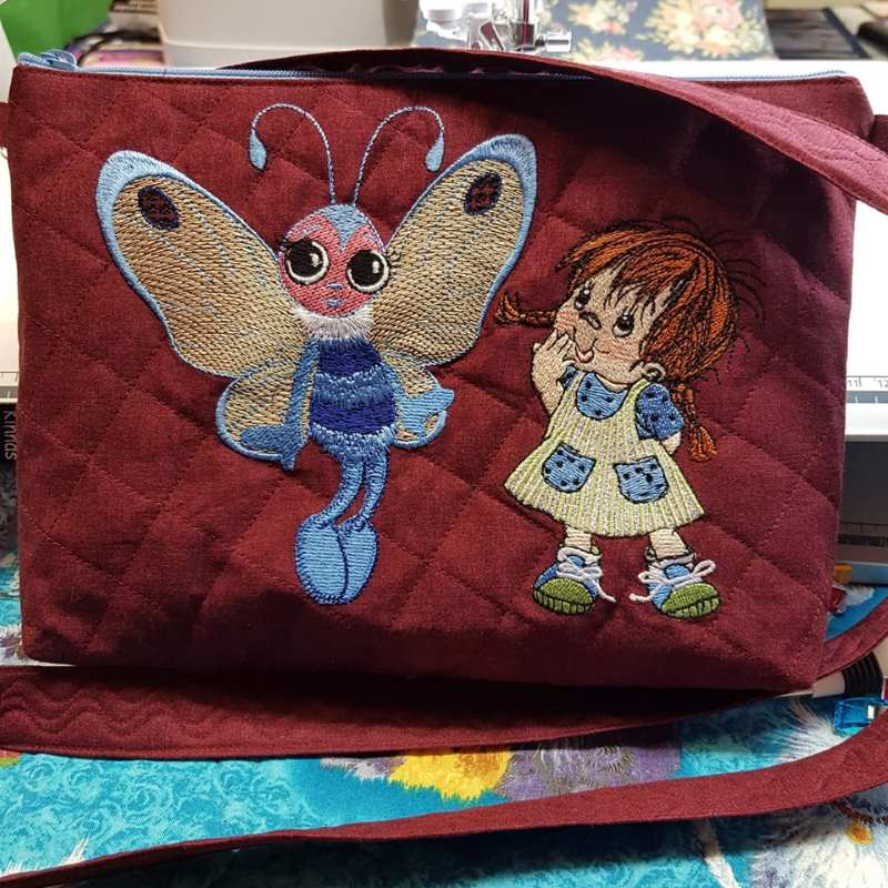 Embroidered bag with cute scene design