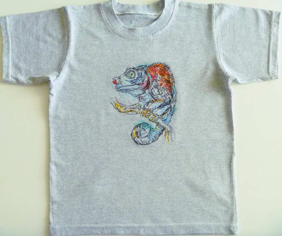 Embroidered t-shirt with Chameleon water color design design