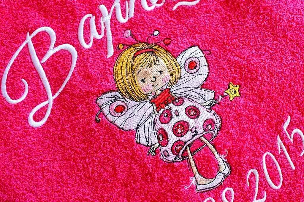 Bath towel with cute fairy embroidery design