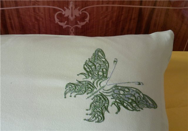 Fantastic butterfly old clown design on embroidered pillowcase