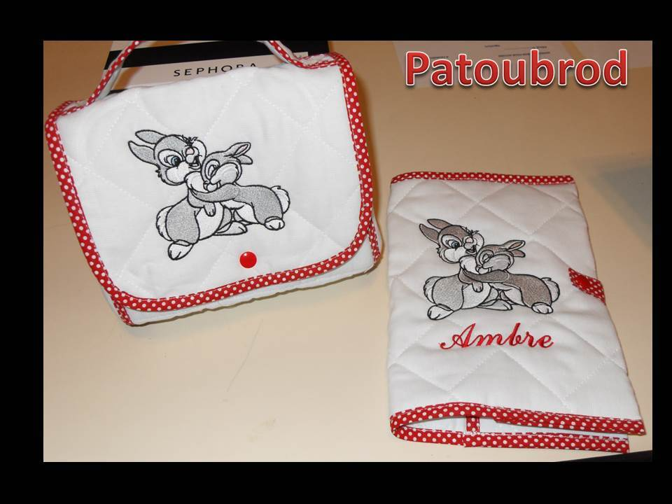 Embroidered Bambi I love you design on towel and bag