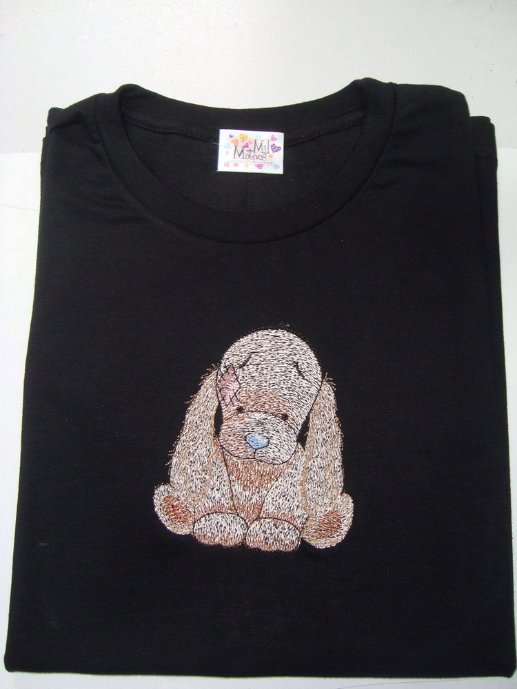 Bixie embroidery design on t-shirt