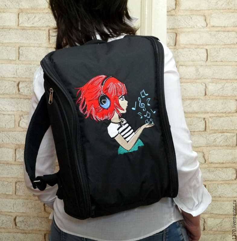 Stylish backpack music fan girl design