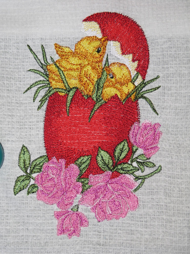 Embroidered Easter egg chicken free machine embroidery design