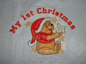 Winnie Pooh Before Christmas machine design embroidered