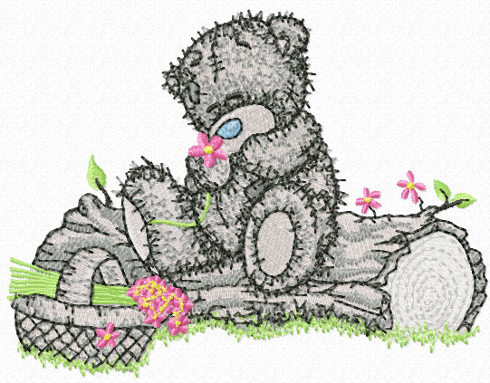 Teddy Bear with basket of flowers machine embroidery design