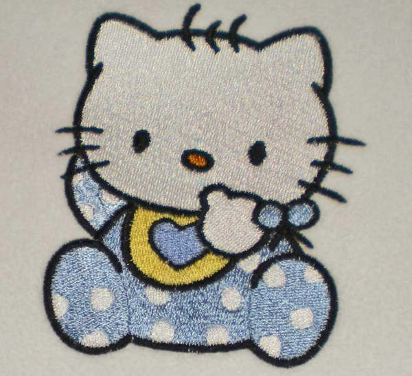 Hello kitty baby bib design embroidered