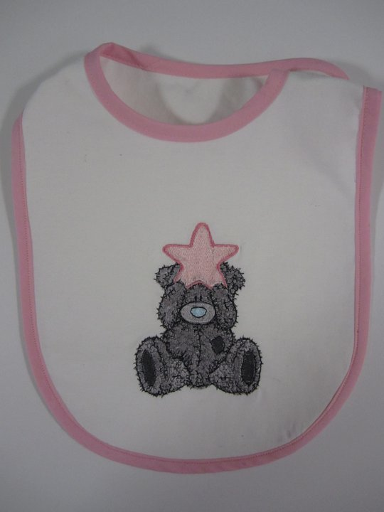 Cute teddy bear with star design embroidered on baby bib