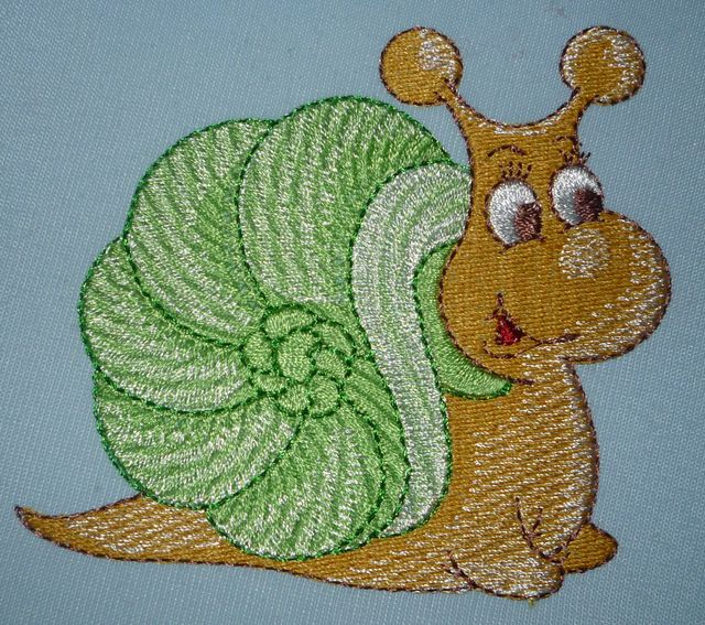 Snail embroidered design