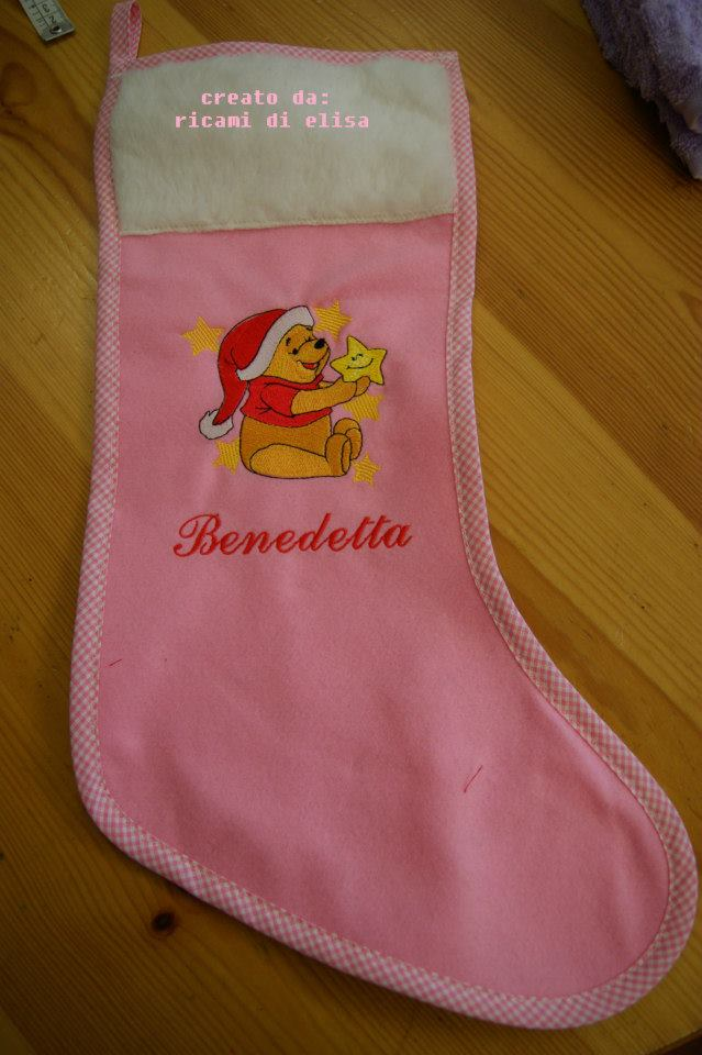 Winnie Pooh Before Christmas design on embroidered  Christmas sock