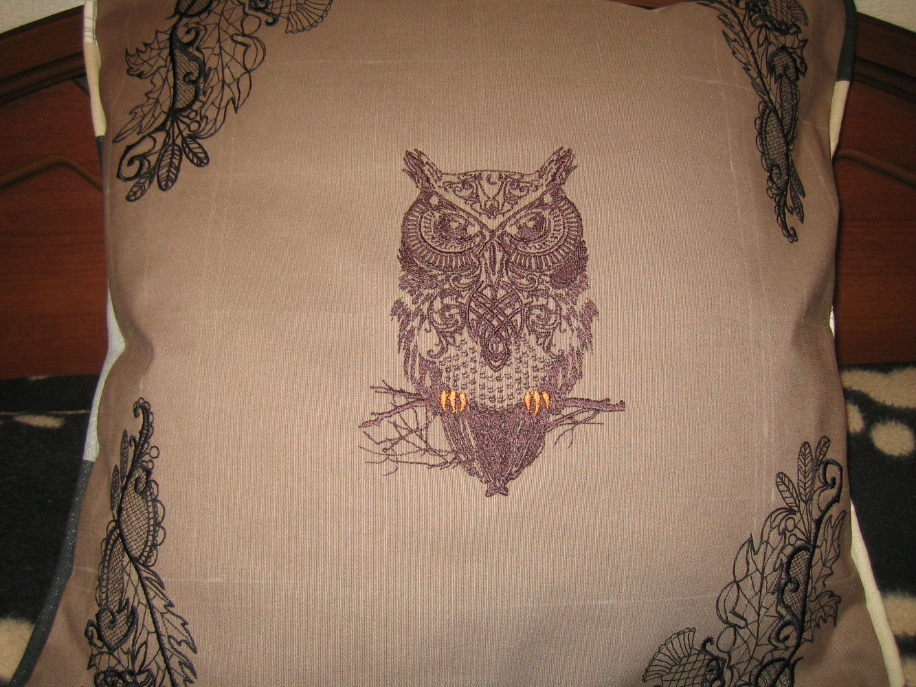 Tribal owl design embroidered on pillowcase