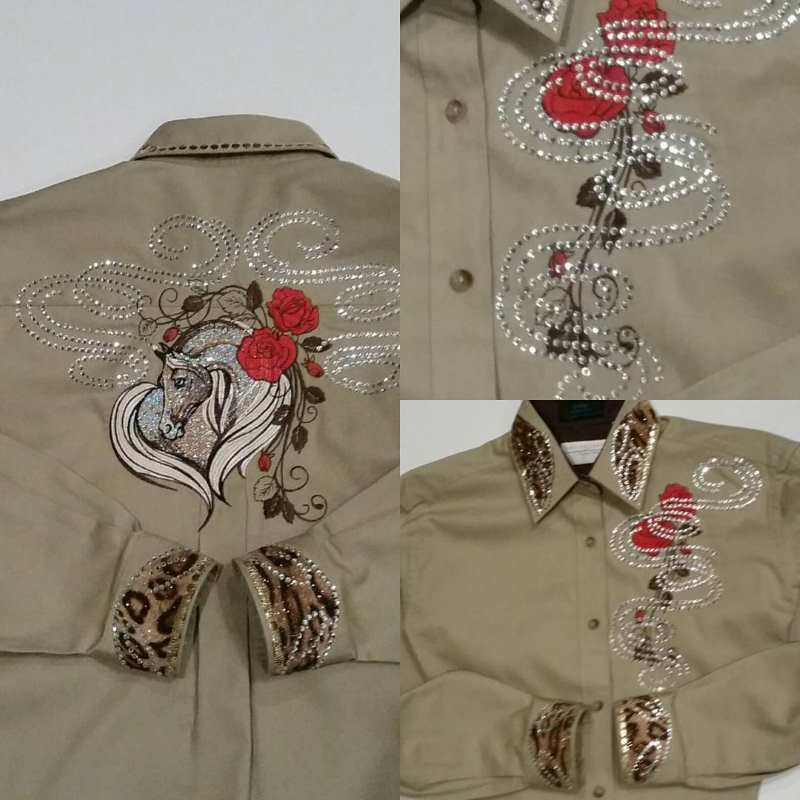 Embroidered shirt with loving horse design