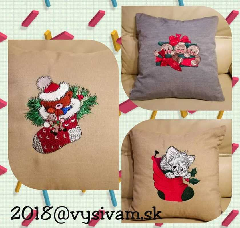 Embroidered pattern with Christmas designs