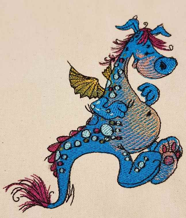 Cute funny dragon embroidery design
