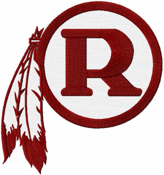 American Football Sport: Redskins R Logo Embroidery Design