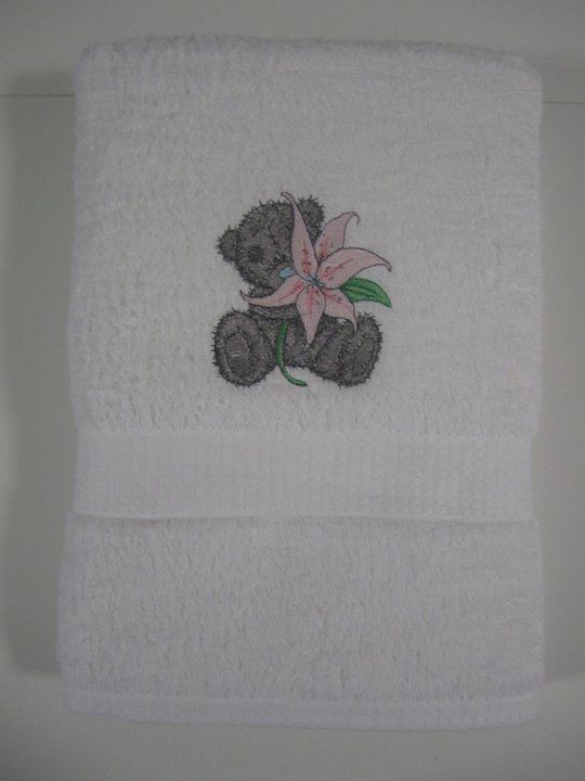 Cute tatty bear embroidered on bath towel