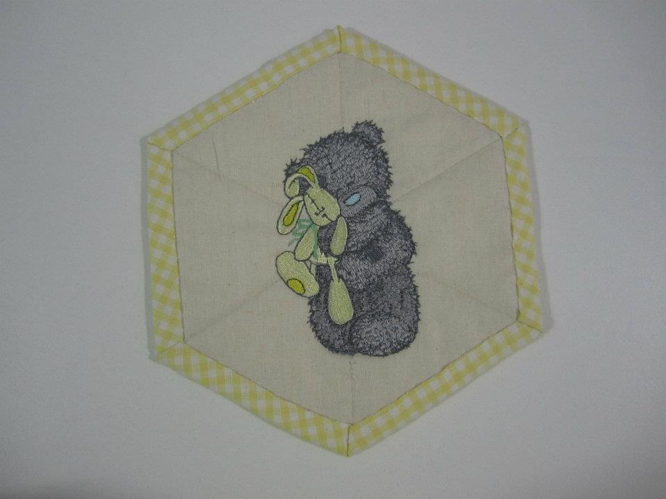 Teddy bear with toy design embroidered