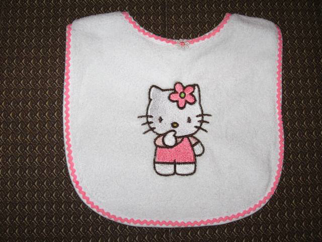 Hello kitty I think design on bib embroidered