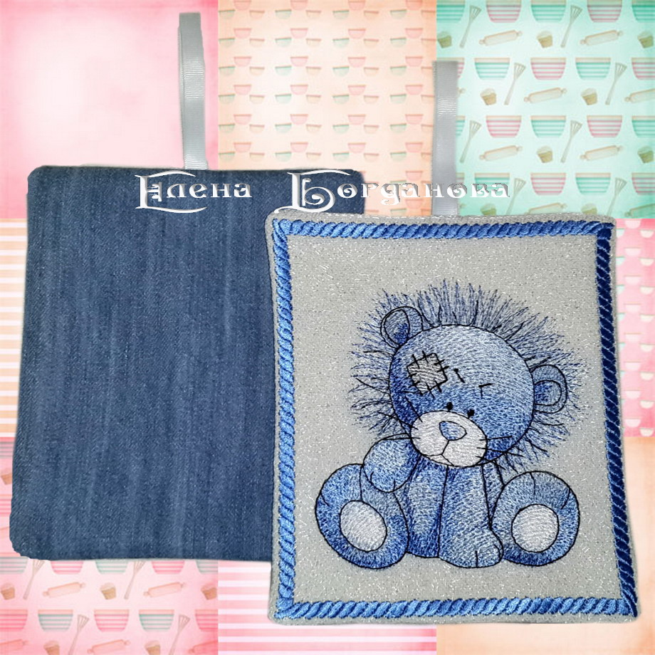 Blue nose lion design embroidered on potholder