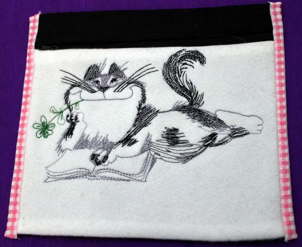 Cat like read book design embroidered