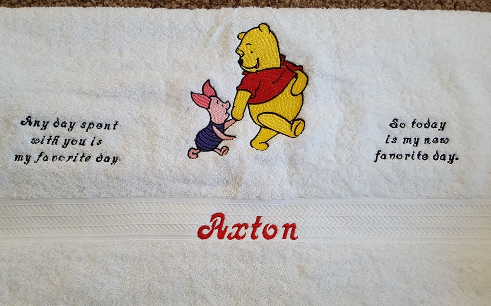 Winnie the Pooh and Piglet best friends embroidered on white towel