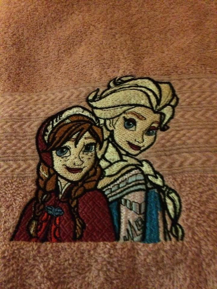 Anna and Elsa embroidered on towel