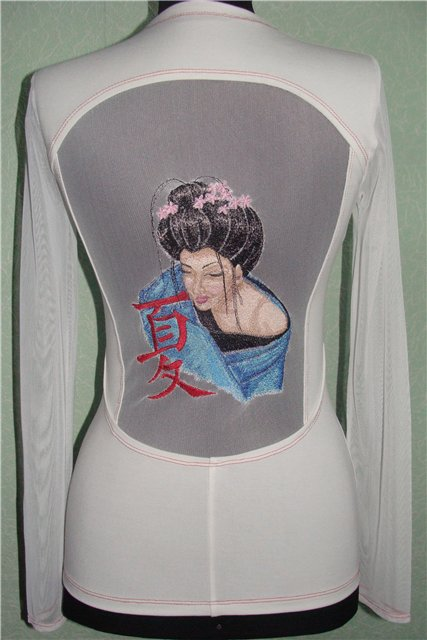 Geisha with Hieroglyphic embroidery design on blouse