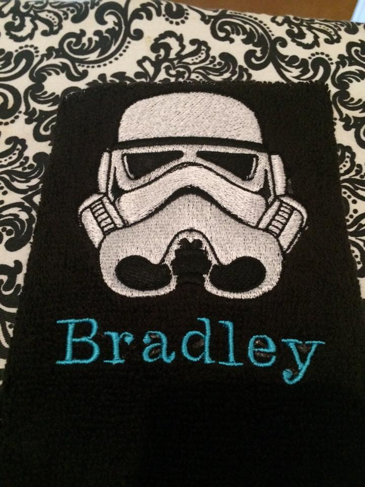 Bath towel with Dark Vaider embroidery design