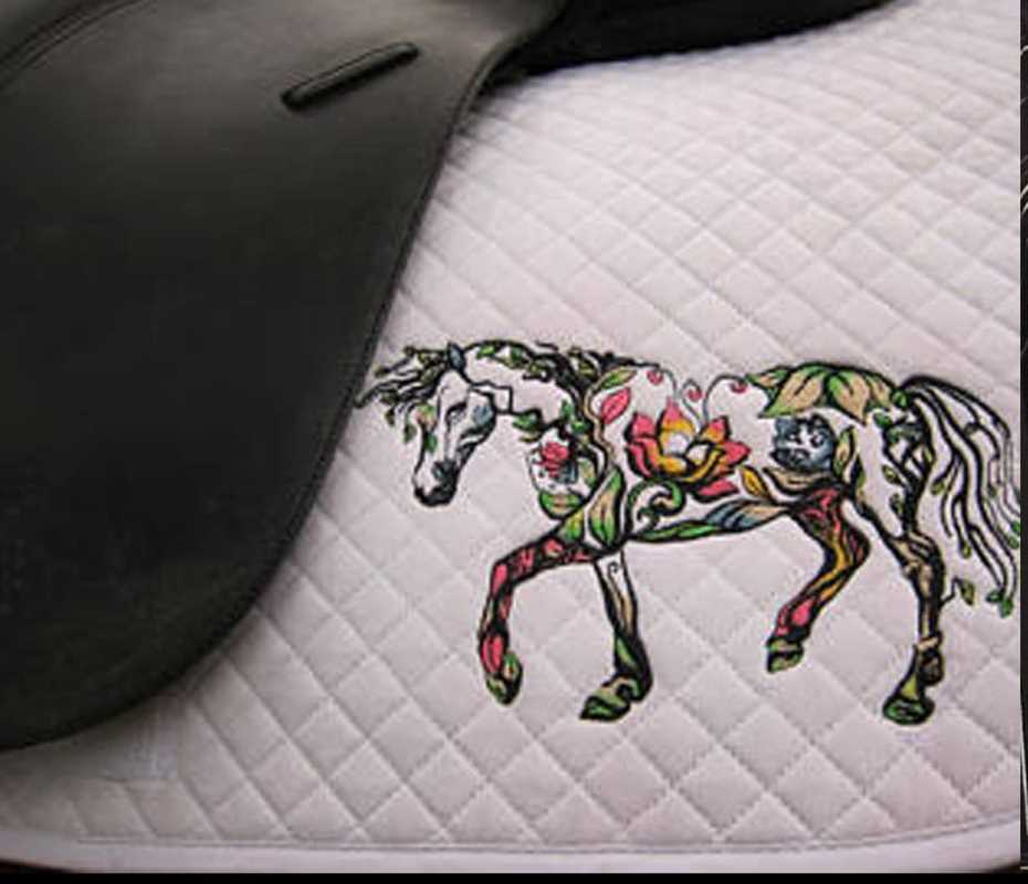 Embroidered accessories for equestrian sport with flower horse