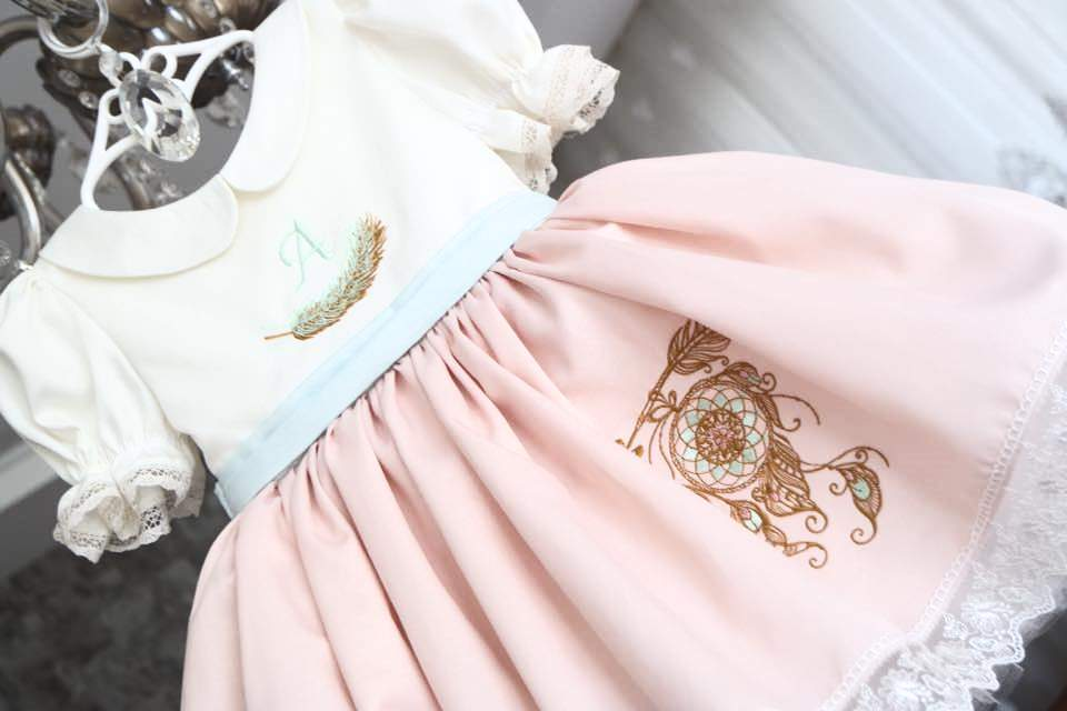 Boho style embroidered dress