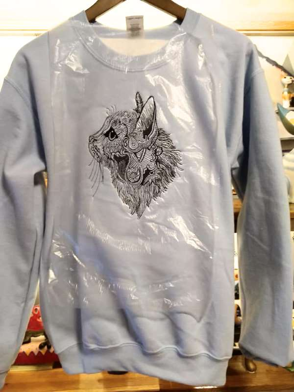 Embroidered hoody with cat design