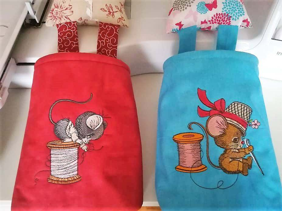 Sewing mice embroidered designs