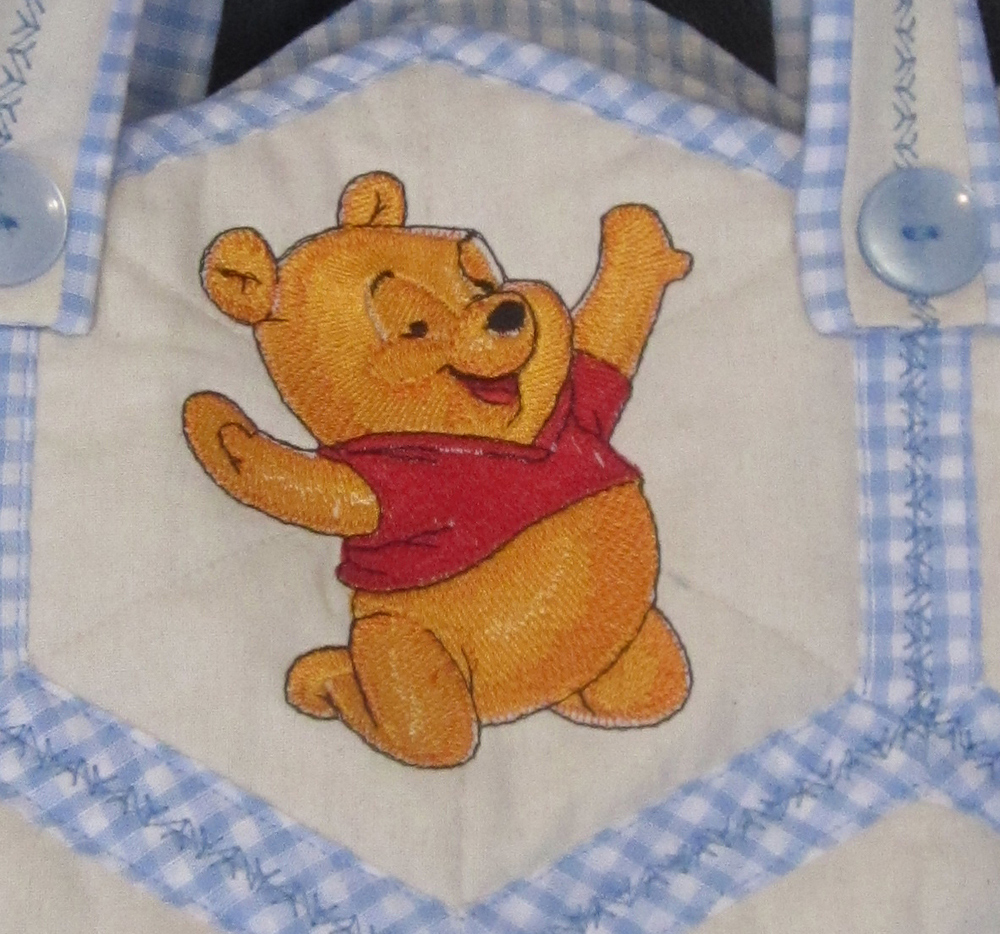 Baby Pooh happy design on embroidered nappy bag